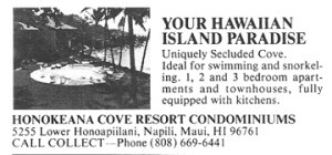Honokeana Cove History - 1969 Vacations