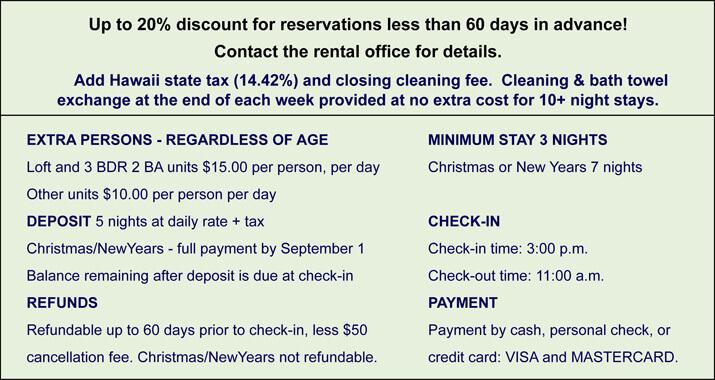 Honokeana Cove rates - additional info